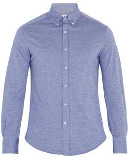 Button-down Collar Cotton-jersey Shirt