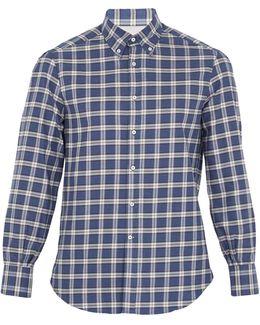 Checked Single-cuff Cotton-flannel Shirt