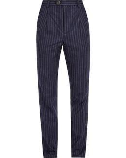 Striped Slim-leg Wool Trousers