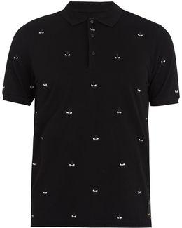 Bag Bugs-embroidered Cotton-piqué Polo Shirt