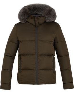 Reversible Fur-trimmed Quilted-down Coat