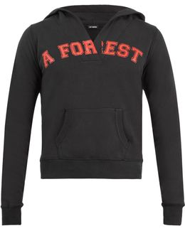 A Forest-print Hooded Cotton Sweatshirt