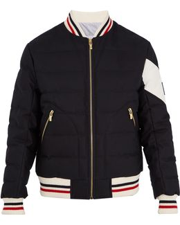 Contrast-panel Quilted Down Bomber Jacket