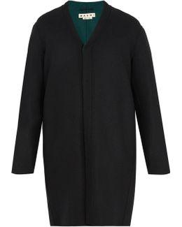 Double-faced V-neck Wool-blend Coat