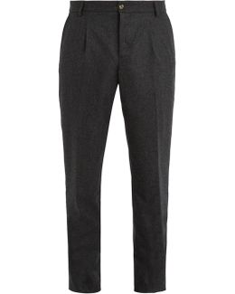 Pleated-front Tapered-leg Wool Trousers