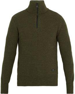 Half-zip Ribbed-wool Sweater
