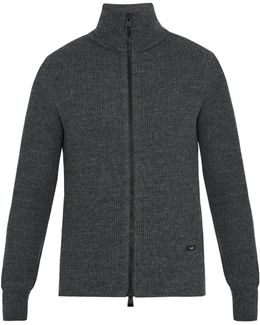 Zip-through Ribbed-wool Sweater