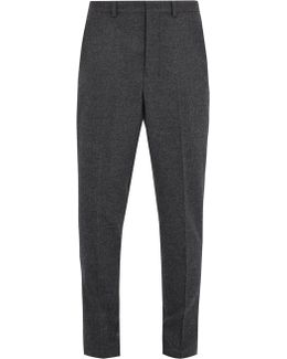 Carrot-fit Wool Trousers