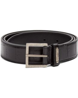Crocodile-effect Leather Belt