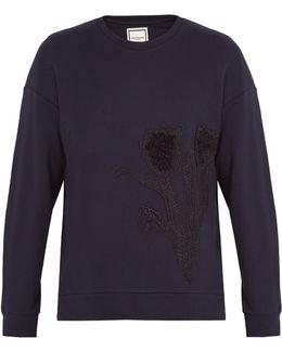 Tulip-embroidered Cotton Sweatshirt