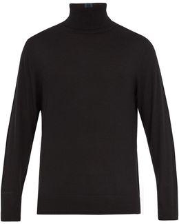 Stripe-detail Roll-neck Wool Sweater