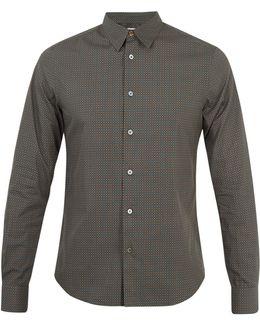 Printed Single-cuff Cotton Shirt
