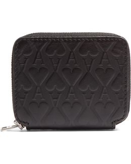Ace Of Hearts-embossed Leather Wallet