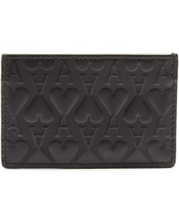 Ace Of Hearts-embossed Leather Cardholder
