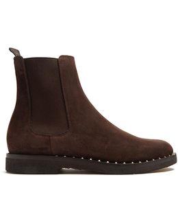 Micro Rockstud Suede Chelsea Boots