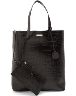 Crocodile-effect Leather Tote