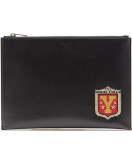 Badge-appliqué Leather Pouch