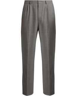 Mid-rise Wide-leg Stretch-wool Trousers