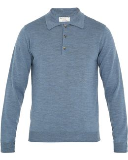 Long-sleeved Wool Polo Shirt