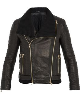 Ribbed-knit Collar Leather Jacket