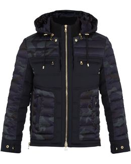 Camouflage-print Quilted Down Coat