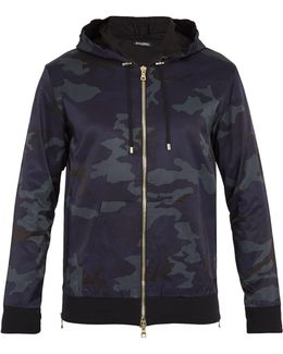 Camouflage-print Cotton-blend Hooded Track Jacket