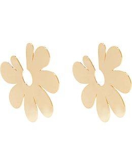Flower Large Gold-plated Earrings