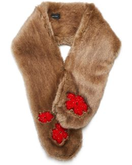 Bead-embellished Faux-fur Scarf
