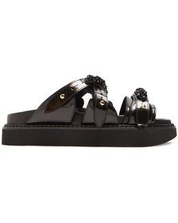 Embellished Leather Slides