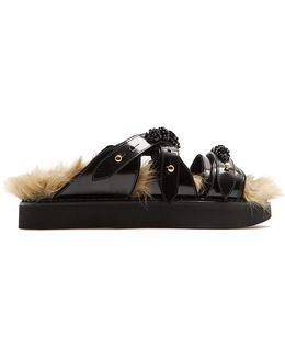 Faux-fur Lined Leather Slides