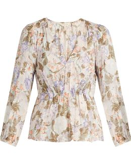 Penelope Rose-print Silk And Cotton-blend Blouse