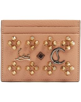 Kios Spike-embellished Leather Cardholder