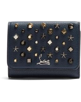 Macaron Tri-fold Embellished Leather Wallet