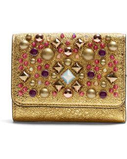 Macaron Tri-fold Embellished Leather Wallet