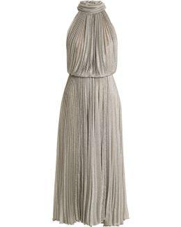Ballari Pleated Halterneck Mesh Dress
