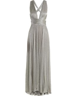 Perla Pleated Halterneck Mesh Gown