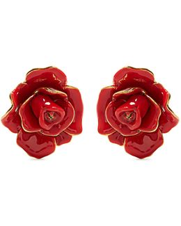 Rosette Enamel-painted Clip-on Earrings
