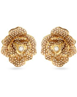 Rosette Crystal-embellished Clip-on Earrings