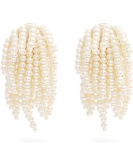 Faux-pearl Tassel-drop Clip-on Earrings