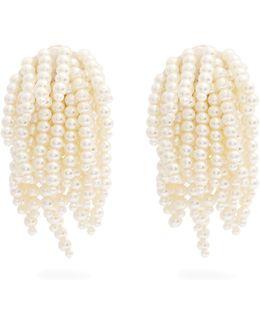 Faux-pearl Tassel-drop Clip-on Earrings