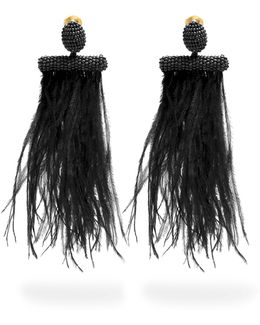 Feather-embellished Tassel-drop Clip-on Earrings