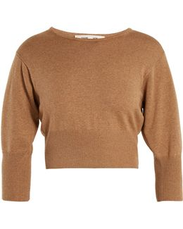 Round-neck Wool-blend Knit Cropped Sweater