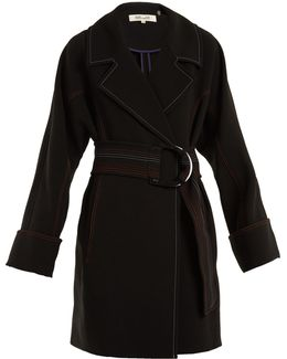 Contrast-stitching Belted Crepe Coat