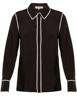 Piped-edge Silk-crepe Shirt
