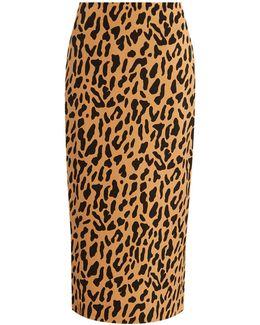 Leopard-print Stretch-cady Pencil Skirt