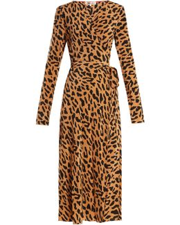 Leopard-print Silk Wrap Dress