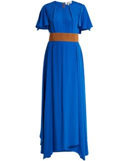 Ruffle-sleeved Silk-crepe Gown