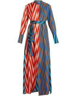 Odeon Chevron-print Silk Satin-twill Dress