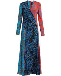 Callow-print Panelled Bias-cut Silk Dress