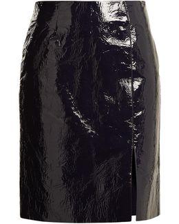 Slit-hem Patent-leather Pencil Skirt